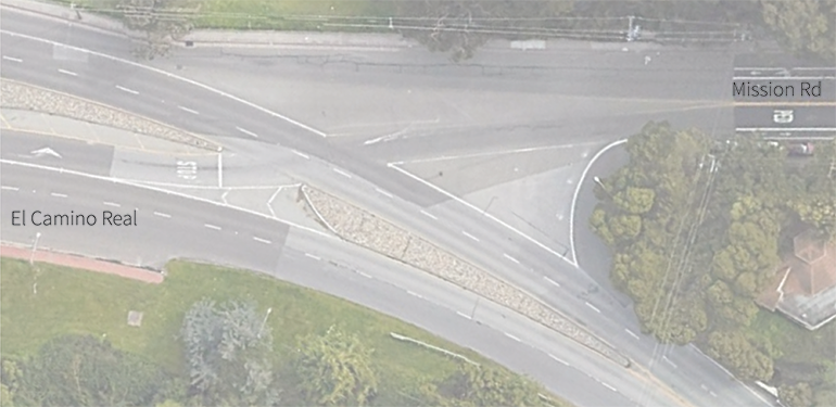 Current aerial of intersection of El Camino Real and Mission Rd. It is in the shape of Y so is referred to as a Y Intersection. safety issues include: missing sidewalks, unsafe crossings, no bike facilities, and speeding