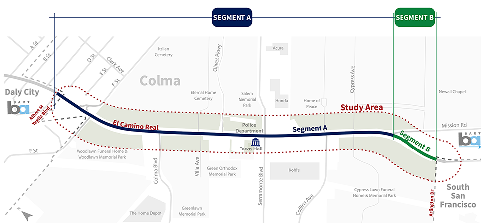 This is a map of the study area, which extends along El Camino Real to Arlington Drive to Albert M Teglia Boulevard.