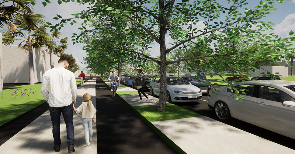 A series of four concept designs of El Camino Real in Colma. These images show how El Camino Real would work if one car lane is removed in each direction, continuous sidewalks and protected bike lanes are added, and parking and the center median and maintained.