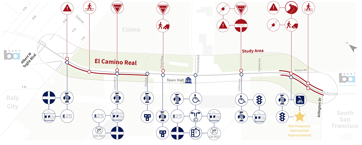 This map shows a variety of corridor and intersection issues