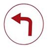 dangerous left turn icon
